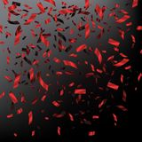 Red falling confetti on dark background. Vector holiday illustration. Royalty Free Stock Photos