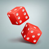Red Falling Dice Stock Image