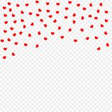 Red falling heart petals isolated on transparent background, pattern. Valentine`s day, confetti hearts. Vector illustration. Eps royalty free illustration