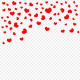 Red falling heart petals isolated on transparent background, pattern. Valentine`s day, confetti hearts. Vector illustration. stock illustration