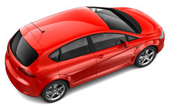 Red family car - top angle Royalty Free Stock Images