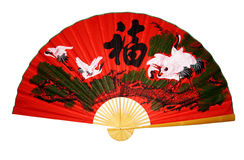 Red fan Asian with characters Royalty Free Stock Photography