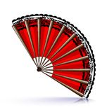 Red fan and black lace Stock Photo