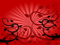 Red Fan Floral Background Stock Image