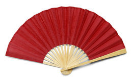 Red Fan. Red Open Hand Fan Isolated on a White Background Royalty Free Stock Image