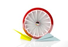 A red fan and paper planes Stock Photo