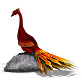 Red fantasy bird with beautiful feathers. 3D Stock Photo