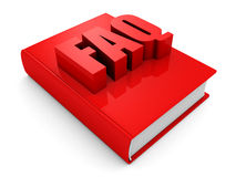 Red FAQ book on white background Stock Image