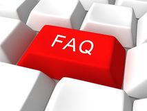 Red faq button on white keyboard Royalty Free Stock Images