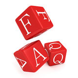 Red FAQ toy cubes on white background. 3d Royalty Free Stock Photography