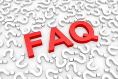 Red FAQ word around questions. Royalty Free Stock Photos