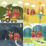 Red farm barn. With different season and time in flat design Royalty Free Stock Photos