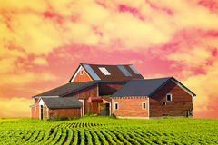 Red Farm at Dusk Royalty Free Stock Images