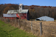 Red Farm Fall Time Stock Images