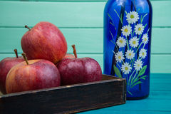 Red farm fresh apple and flowers Royalty Free Stock Photography