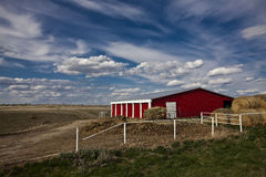 Red farm house Royalty Free Stock Images