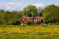 Red farm house Stock Photo