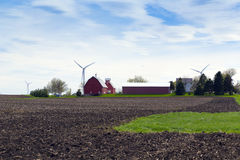Red Farm with stormy sky Royalty Free Stock Photos