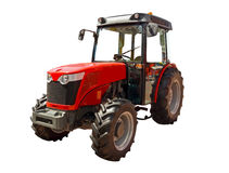 Red farm tractor. On a white background stock photos