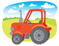 Red farm tractor. In the background of meadows Stock Illustration