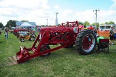 Red Farmall antique farming tractor. Stock Images