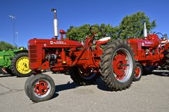 Red Farmall restored C Tractor on display Royalty Free Stock Photos