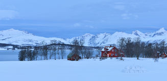 Red farmhouses in Tromso with the mountains on Kvaloya Stock Photo