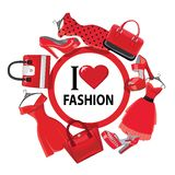 Red fashion women's dresses,handbag, high-heeled shoes.eps. Set of Multi-coloured fashion women's handbag and high-heeled shoes.Circle composition .Casual and Royalty Free Stock Images