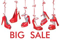 Red fashion women's  shoes hang on ribbon.Big sale Royalty Free Stock Photo