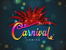 Red feather decorated colorful text Carnival on blue bokeh background for party celebration poster. vector illustration