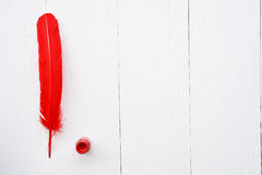 Red feather and ink. On white background Stock Photos