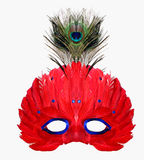 Red Feather Masquerade Mask. With Peacock feather detail Stock Photos