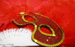 Red feathered mask Royalty Free Stock Photos