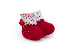 Red felt boots Royalty Free Stock Photos