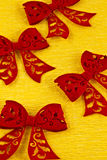 Red felt bows Stock Photos