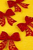 Red felt bows Stock Photos