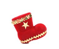 Red felt Christmas stocking. Stock Image