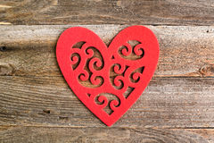 Red felt floral heart on reclaimed wood, valentines day backgrou Royalty Free Stock Photography