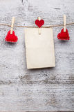 Red felt handmade hearts Royalty Free Stock Image