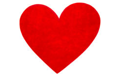 Red felt heart. A red heart made of felt isolated on white stock photos
