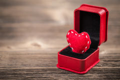 Red felt heart in ring box Royalty Free Stock Photo