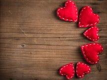 Red felt heart Stock Photography