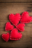 Red felt hearts Stock Images