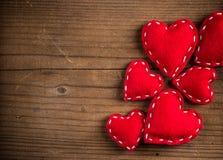 Red felt hearts Stock Photo
