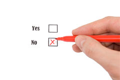 Red felt pen and questionnaire Stock Photography