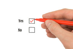 Red felt pen and questionnaire Royalty Free Stock Photos