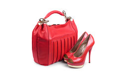 Red female bag&shoes-1 Royalty Free Stock Photo