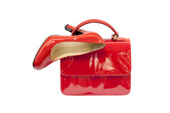 Red female bag&shoes-5 Stock Photo