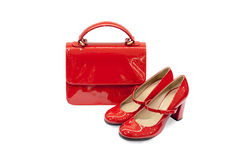 Red female bag&shoes-6 Royalty Free Stock Photos