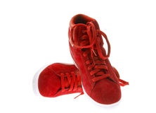 Red Female Beautiful Shoes with High Heels Stock Photography